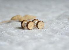 Fake wood plugs earrings fake gauge post earrings by MyPieceOfWood