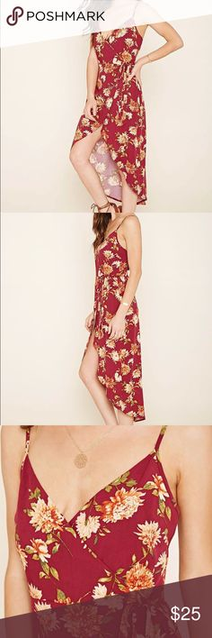 Floral Print Wrap Dress Burgundy/Maroon Floral Wrap Dress that is lovely with small delicate necklaces! Perfect for a road trip or a day out exploring! Forever 21 Dresses
