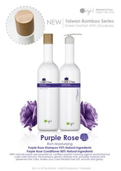 NEW! O'right Purple Rose Shampoo + Conditioner with eco-friendly bamboo top!  Perfect for clients severely damaged hair. #organic #hair #SalonProductsToTry