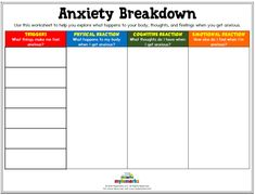 Therapeutic worksheets focused on helping kids and teens explore feelings of anxiety. Tools assist kids in identifying anxiety triggers, healthy coping skills, and positive ways to relieve stress. Therapy Worksheets, Counseling Activities, Therapy Activities, Play Therapy, Therapy Ideas, Class Activities, Elementary Counseling, Fibromyalgia, Psicologia