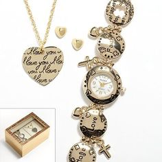 (studio time gold watch with circles and hearts at kohls)  jane segerstrom look like yourself and love it book pg46-48. the many recommendations for jewelry for #type1 include = charm bracelets, shiny gold, hearts, butterflies, flowers, stars. ( #type1  corresponds to #spring  in related style systems)