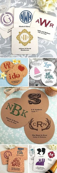 Add unique take home souvenirs to wedding reception tables, the cocktail bar, and beverage stations with drink coasters personalized with choice of design or monogram, bride and groom's name and wedding date. Great for glassware or disposable cups, personalized coasters will protect table linens from condensation while adding interest and conversation to your wedding table decor. These coasters can be ordered at http://myweddingreceptionideas.com/personalized_printed_wedding_coasters.asp