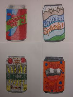 Middle school kids enjoy creating their own soft drinks. I give them a template of a can to keep them consistent for display.
