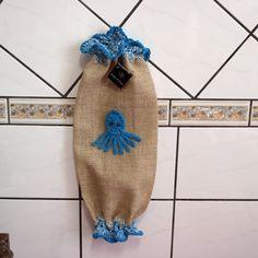 puxa saco em juta aplicação em crochê - polvo