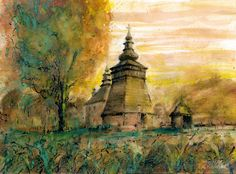 Orthodox church in Skwirtne. Watercolor & ink. Author: Witold Kubicha