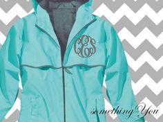 Monogram Raincoat Jacket Aqua Blue - Waterproof Monogrammed Personalized Customized Initials Embroidered Aqua Turquoise Tiffany Blue