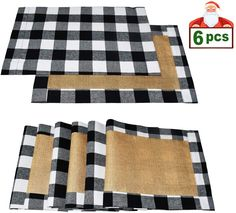 Senneny Set of 6 Christmas Placemats Buffalo Check Placemats Black White Plaid Reversible Burlap & Cotton Placemats for Christmas Holiday Table Home Decoration (Black and White) Rustic Industrial Decor, Rustic Decor, Farmhouse Decor, Deck Decorating, Decorating Small Spaces, Eclectic Decor, Modern Decor, Porches, Dining Table Placemats