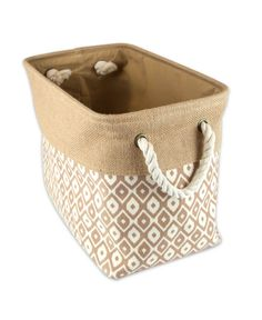 These trendy bins have simple yet chic look and are dependable. Sturdily constructed these storage bins are up to the task of being carried to-and-fro, used to transport groceries, laundry, or household goods these bins will handle it. Decorative Storage Bins, Large Storage Baskets, Storage Containers, Holiday Storage, Toy Basket, Linen Closet Organization, Cube Organizer, Ikat, Burlap