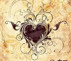Black heart with some curls, swirls and fancy detailing. Could possibly be a cover up tattoo
