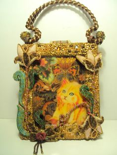 MARY FRANCES PURSE CATS KITTENS Beads Box Style Hard Sided Handpainted WOW!!