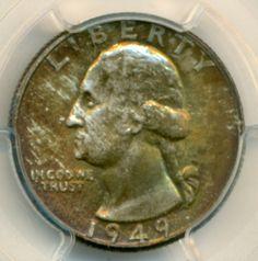 1949 D Washington Quarter MS66 PCGS Copper Color