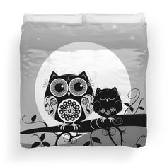 Flower power Owl with sleepy Baby & full Moon