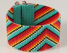 Mexican Rainbow Serape Bead Loom Bracelet - Artisanal Jewelry - Southwestern - Western Jewelry - Beaded Bohemian - Tribal from PuebloAndCo on Etsy. Bead Loom Bracelets, Beaded Bracelet Patterns, Bead Loom Patterns, Beading Patterns, Beaded Jewelry, Jewelry Shop, Silver Jewelry, Native Beadwork, Loom Beading