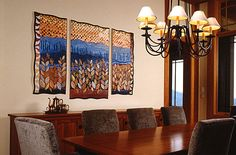 Bernie Rowell contemporary art quilts, artist Asheville traditional crafts, art quilts and prints Contemporary Quilts, Blue Ridge, Asheville, Mornings, Fiber Art, Art Dolls, Quilting, Textiles, Design Inspiration