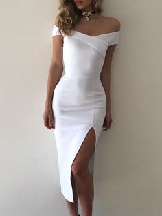 Elegant Off Shoulder Cross Slit Bodycon Dress #bodycondresshomecoming