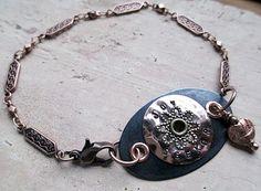 Joy Seeker Stamped Metal Bracelet Heart Beaded by LittleBitsOFaith