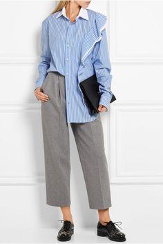 Maison Margiela   Гофрированные полосатый хлопка-поплина рубашки   NET-A-PORTER.COM