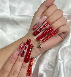 Dope Nail Designs, Cute Acrylic Nail Designs, Red Acrylic Nails, Square Acrylic Nails, Nails & Co, Valentine Nail Art, Acylic Nails, Exotic Nails, Dope Nails