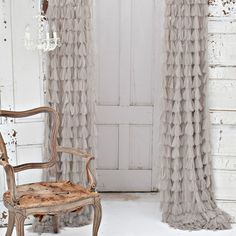 Couture Dreams Chichi Solid Petal Window Curtain are sophisticated and romantic yet playful and casual. Truly stunning these curtains are sure to turn any room into a statement piece. Rod Pocket Curtains, Drapes Curtains, Brown Curtains, Window Panels, Window Coverings, Window Treatments, Curtain Panels, Decoration Gris, My New Room