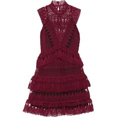 Self-Portrait Tiered guipure lace mini dress (390 AUD) ❤ liked on Polyvore featuring dresses, burgundy, lace cocktail dress, purple lace dress, burgundy lace dress, burgundy short dress and short lace dress
