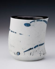 """Cup, 90mm/3.5"""" tall - Porcelain with blue clay inlay - inspiration for the colour inlay lesson"""