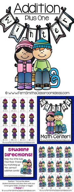 Winter Math Center Addition Plus One Freebie Fun Classroom Activities, Kindergarten Games, Classroom Resources, Preschool, 2nd Grade Teacher, Third Grade Math, Fourth Grade, Second Grade, Addition Activities