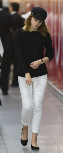 Emma Watson Style Note from DJR-- I like that parts of the outfit, but not necessarily all of them together... :/