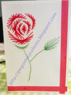 Pegostes y Colores: Tarjeta de Rosa Bordada en Papel - paper embroided Rose Card - for Mother's Day