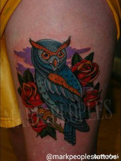 Owl by Mark Peoples done at Gypsy Rose Tattoos