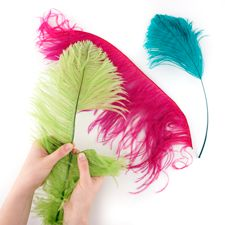 Stripping Ostrich Feathers : Working with Feathers : Tips and Techniques from The Feather Place. #thefeatherplace #workingwithfeathers #feathers Visit our DIY Arts & Crafts Gallery or Shop Feathers: www.featherplace.com/idea-gallery