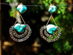 Syrena Earrings.A unique, handcrafted piece made for a Goddess.  Gold-plated 925 Silver Chain and hooks.  Turquoise Stones and blae crystals      Greek Goddess Collection.