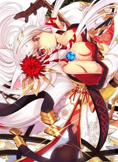 White Fox anime art kawaii cute girl