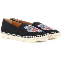 Kenzo Embroidered Espadrilles ($165) ❤ liked on Polyvore featuring shoes, sandals, black, black shoes, kenzo, black sandals, black espadrille sandals and embroidered shoes