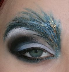 awsome eyes for a high fashion shoot or  peacock costumer for halloween!