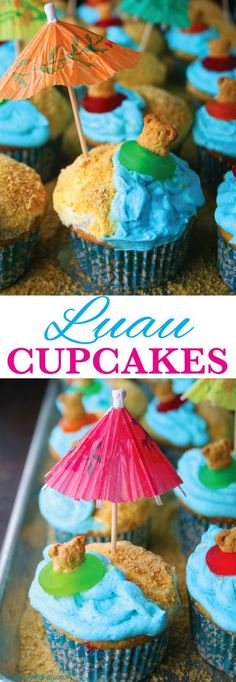 """Luau Cupcakes - perfect for a Summer party! Funfetti cupcakes with cookie crumb """"beach"""" and blue buttercream ocean, plus teddy bear cookies in floats. Click for the recipe on Mom Loves Baking!"""
