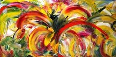 'Sunflower Fusion' Abstract Sunflower Oil Painting by Laurie Justus Pace, painting by artist Laurie Justus Pace