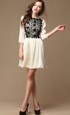 Apricot Long Sleeve Embroidery Organza Dress