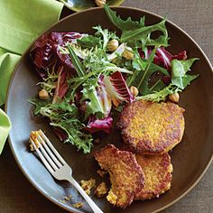 Squash and Chickpea Fritters with Winter Greens and Hazelnut Salad   MyRecipes.com