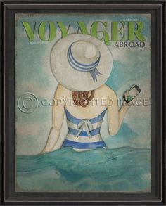 Voyager, Abroad, August 2013 art print featuring a vintage-inspired blue and white bathing beauty wearing a large beach hat and carrying her phone out into the surf! Seaside Home Decor, Beach Cottage Decor, Coastal Art, Coastal Homes, Beach Artwork, Tropical Decor, Beach Cottages, Beach Fun, August 2013