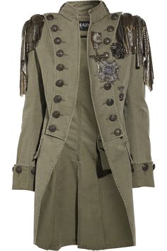 BALMAIN Embellished cotton-canvas Napoleon coat Wear Balmain's military-style masterpiece with a love-torn tee and leather pants for a cocktail look Steampunk Vetements, Steampunk Coat, Steampunk Clothing, Steampunk Fashion, Renaissance Clothing, Gothic Steampunk, Steampunk Necklace, Victorian Gothic, Gothic Lolita