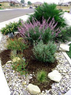 Treehouse Landscape Design - Camarillo, CA, United States. Mixed shrub border lined with river rock