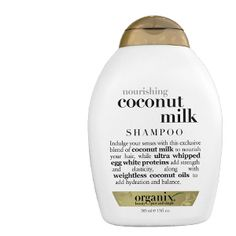 Shampoo | Organix - Coconut milk - This stuff cleans my hair + scalp beautifully and allows my hair to air dry with volume. Bought it on a whim b/c it was on sale and I'm honestly impressed :) Coconut for nourishing, egg white proteins for strength + elasticity.
