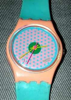 1980s Swatch Watch Pink w/ Blue Polka Dots S 606 755 Swiss - YEP I had ths exact watch - um - embarassing :-)