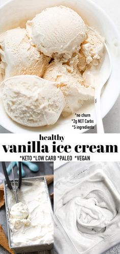 This Vegan Ice Cream is made with just 5 healthy ingredients and is the perfect low carb dessert for summer. It's an easy no churn ice cream recipe that is sugar-free and easy to make with no ice cream maker in less than 10 minutes of prep. It's also dairy-free & vegan with paleo sweetener options and so much healthier and better for you than store-bought low carb ice cream brands like Halo Top and Enlightened. #ketoicecream #keto #icecream #lowcarb #vanillaicecream #vanilla #vegan Easy No Bake Desserts, Frozen Desserts, Summer Desserts, Low Carb Desserts, Frozen Treats, Healthy Desserts, Low Carb Ice Cream, Vegan Ice Cream, Vegan Vanilla Ice Cream Recipe