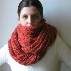 Chunky Cowl Scarf Knitted in Terracotta Soft Wool Blend  by branda