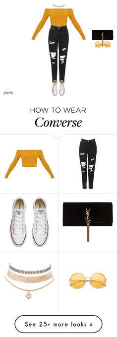 """""""undercover"""" by xoxotiffvni on Polyvore featuring Topshop, Charlotte Russe, Converse, Yves Saint Laurent and picnic"""