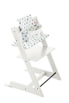 Tripp Trapp Chair in White with Cushion Aqua Star