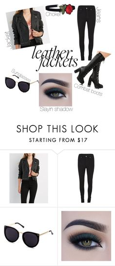 """""""How to slay a leather jacket Like A Boss"""" by nakira-nnj ❤ liked on Polyvore featuring Charlotte Russe, Cheap Monday and Too Faced Cosmetics"""