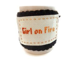No Pattern. Crochet Hunger Games Girl on Fire Cup Cozy.