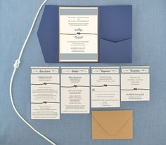 Tie The Knot Pocket Invitation  Cards & Pockets Design  Directions, Hotels, Response, Reception